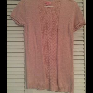 Lilly Pulitzer pink short sleeved cable sweater
