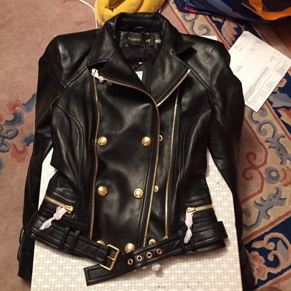 Balmain Balmain X H Amp M Black And Gold Leather Jacket From