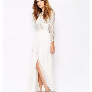 3aa09b3f49a ASOS Dresses - Lace white long sleeve maxi dress