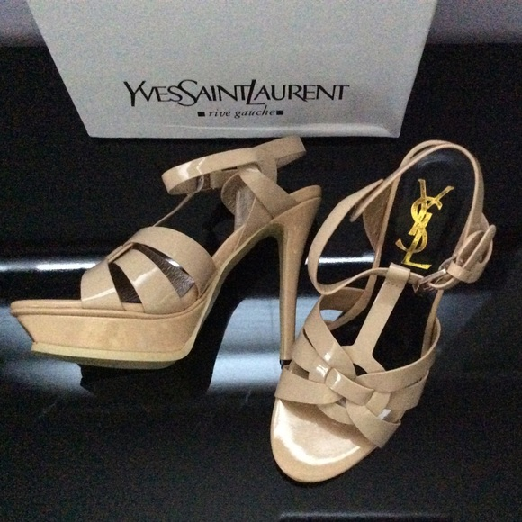 127810a22d2 YSL Patent Leather Tribute Sandals. Nude Size 8. M 5658c23799086a0451003179