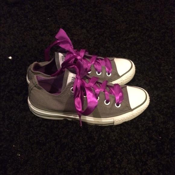 a61efcdd47bc Converse Shoes - Grey Converse All Star s W  Purple Ribbon Laces