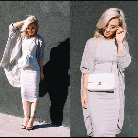 CREME DE LA FAME Dresses - CDLF Grey Midi Dress
