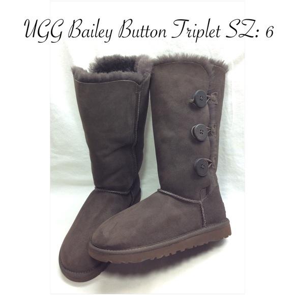 ugg shoes bailey button triplet chocolate boots sz 6 poshmark rh poshmark com
