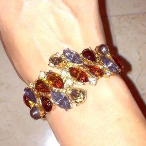 Jewelry - Gold bracelet with multi colored rhinestones