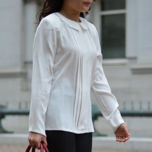 New leith white silk pleated collar blouse