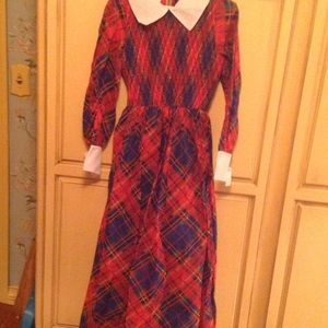 Ladies Vintage style plaid maxi dress