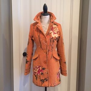 DB Sport Jackets & Coats - Gorgeous DB Sport Orange Embroidered Jacket! SZ S!