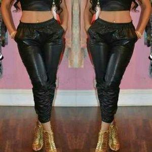 Pants - Vegan leather jogging pants
