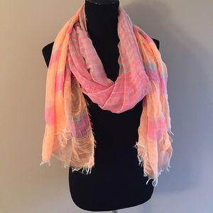 Accessories - Frayed Scarf neon orange & hot pink