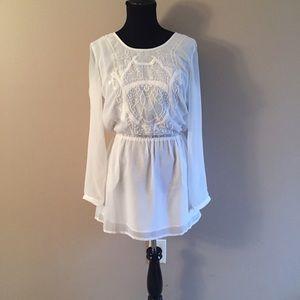 Dresses & Skirts - New Chiffon All White long sleeve dress Sz M