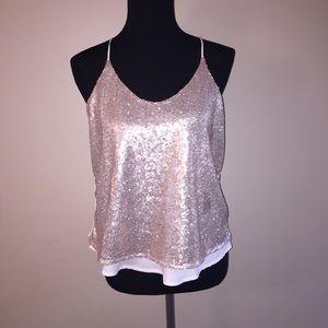 Tops - Sequin & Pale Pink Top Sz M