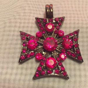 Jewelry - Red Crystal Rhinestones Maltese Cross Pendant