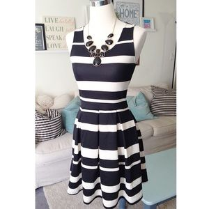 Black & White Striped Fit & Flare Dress