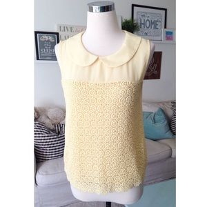 Butter Yellow Crochet Sleeveless Blouse