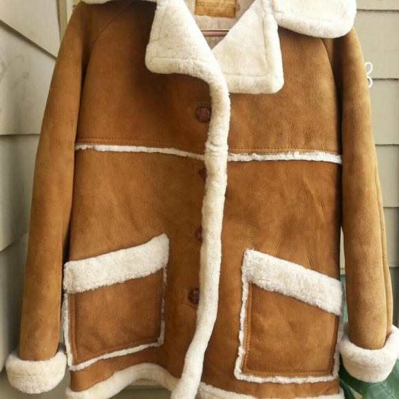 86d6849b9 Vintage Sheepskin Leather & Shearling Fur Coat