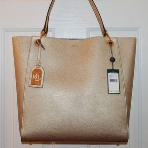 b72c0f42fe Ralph Lauren Bags - Ralph Lauren Aiden Metallic Gold Shopper Tote