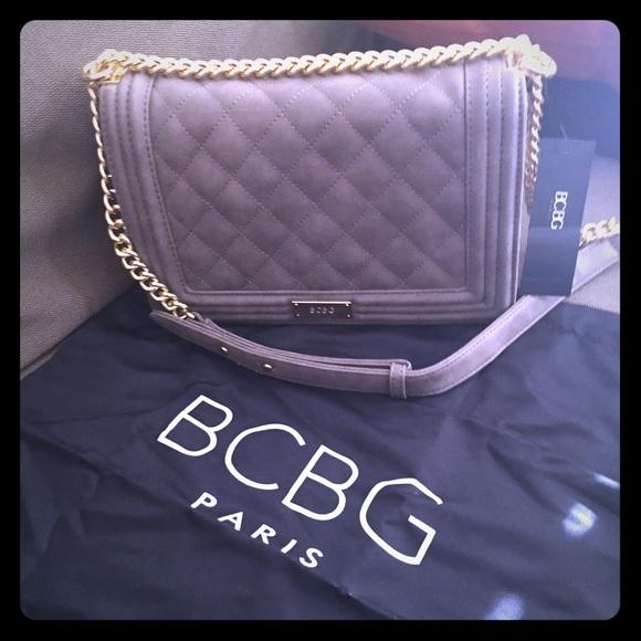 9554ed5a61 BCBG Matte Quilted Chain Shoulder Bag Taupe. M 5643c141ea99a6ef4200084f