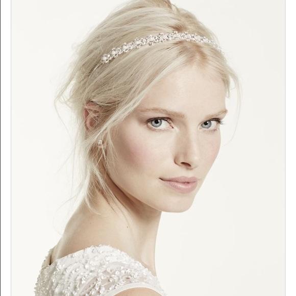 David s Bridal pearl and crystal wedding headband 117e9b26120