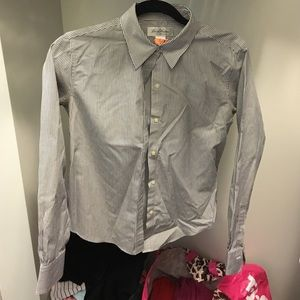 Brooks Brothers Tops - Brooks Brothers Grey Striped Oxford Button Down