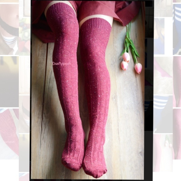 c23bfcb34a0 Burgundy Cable Knit Over the Knee Socks Thigh High. NWT. Dustyposh