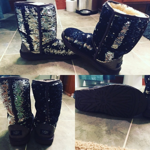 Navy blue and silver sparkly uggs