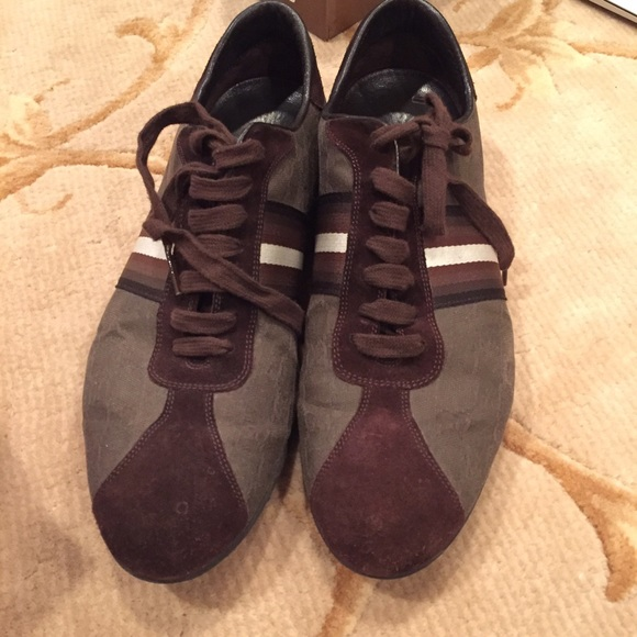 d31ca55fd Gucci Shoes | Mens Brown Suede And Monogrammed Sneakers | Poshmark