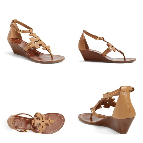 90fd5322882edf Tory Burch Chandler Wedge Leather Sandal. M 5646035b7f0a05b6ea0064c9