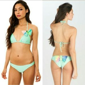 New lolli swim dancing queen mint bow bikini top M