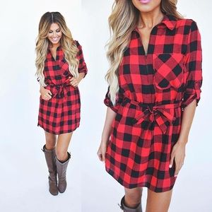 ❤️OUT OF STOCK❤️Red Plaid Tunic Dress w/Zipper❤️