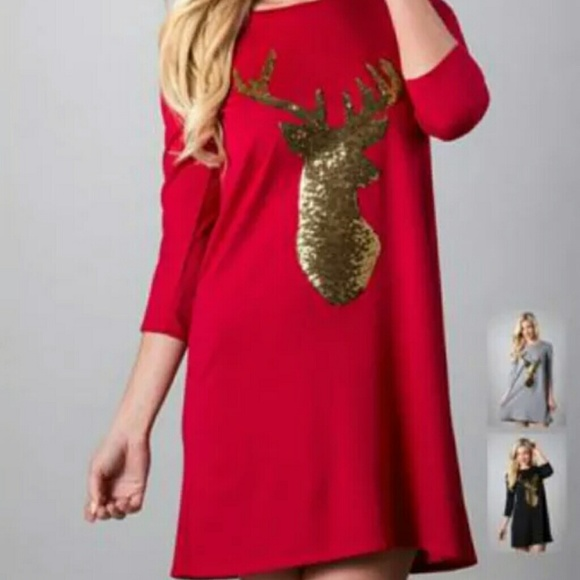red christmas dress with gold sequin reindeer - Red Christmas Dresses