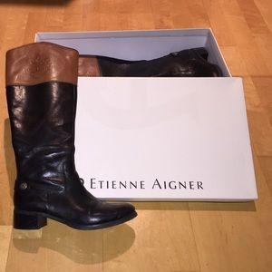 0f26de43edc 🚩SALE🚩Etienne Aigner Black/Tan riding boots. 6.5