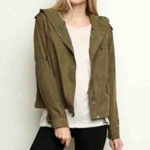 Brandy Melville Jackets & Blazers - New brandy Melville swing Olive crop trench jacket