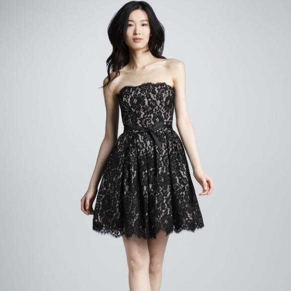 Robert Rodriguez Dresses Robert Rodriguez Strapless Black Nude Lace Dress Poshmark