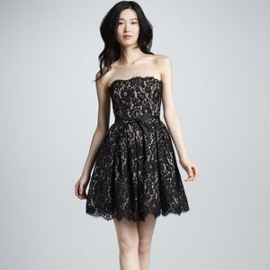 Robert Rodriguez strapless black nude lace dress