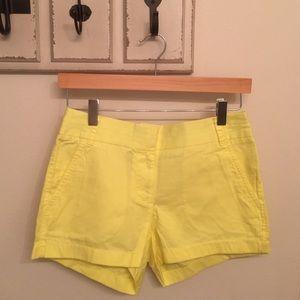 """J. Crew 3"""" Chino Shorts Size 0 (Neon Yellow)"""