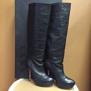 L.A.M.B. Panya Black Leather Tall Platform Boots
