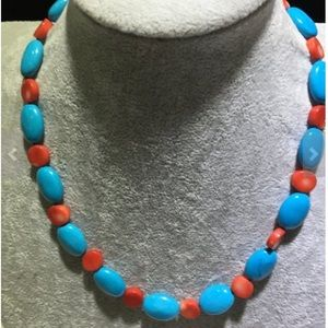 Oval shape blue turquoise red coral necklace