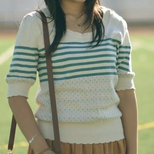 Urban Outfitters Sweaters - urban outfitters stripe dot puff sleeve sweater