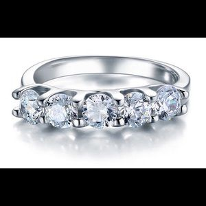 1.25 Carat 5 Stone Solid 925 Sterling Silver Band