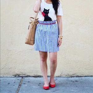 New Jcrew blue white stripe elastic pencil skirt