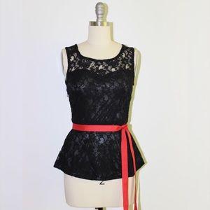 Tops - NEW Black Lace Peplum Top Blouse Shirt