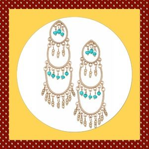Jewelry - 🎄New Beautiful Gold and Turquoise Tiered Earrings