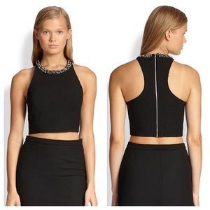 • Elizabeth and James black embellished crop L •