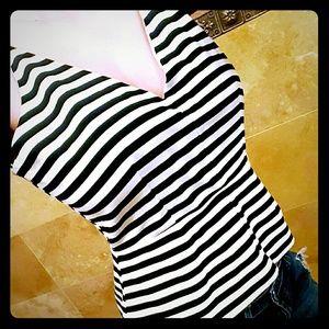 Sale! Black & White Striped Peplum Tank
