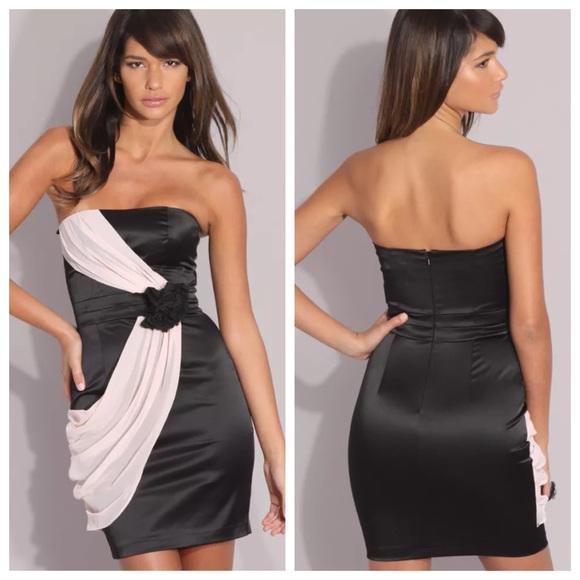 Asos Dresses Nwt 2 Black Coral Corsage Strapless Dress Poshmark