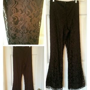Novella Royale Pants - Eggplant lace covered pant with bell bottoms!