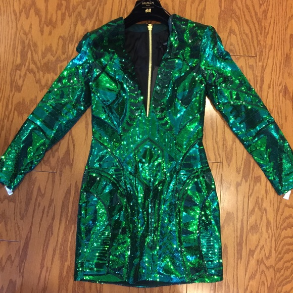 Balmain H Amp M Balmain Green Sequin Dress Size 4 From Hajun