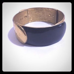 Vintage Jewelry - Vintage Monet Black & Gold Bangle Bracelet