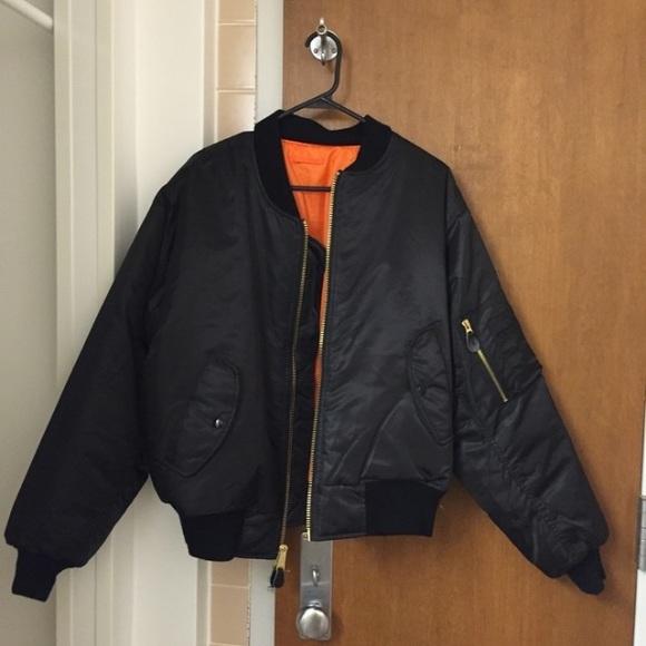 Black bomber jacket reversible