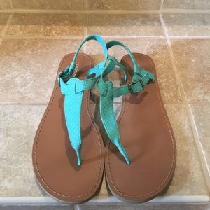 Worn once turquoise sandals